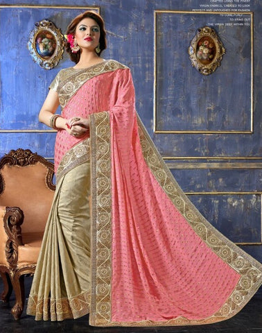 Saree Salmon,Jacquard