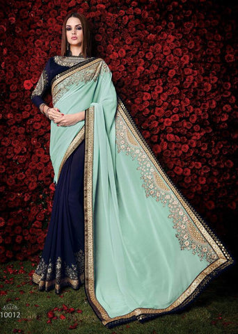 Designer blue saree in georgette for parties and wedding