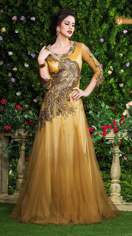 Beige heavy embroidery designer  long floor length anarkali gown with chiffon dupatta