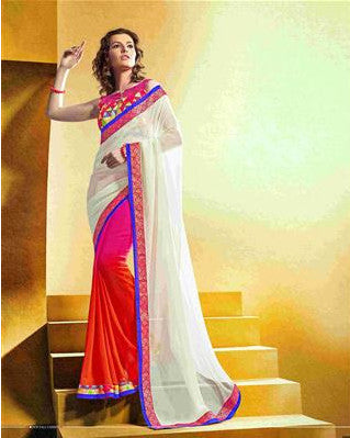Multicolored beige , pink and orange saree in multi shades for women