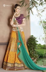 Yellow & Purple Designer Lehenga With Green Dupatta