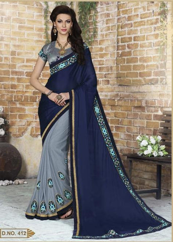 Blue , Grey,Georgette,Party wear designer saree