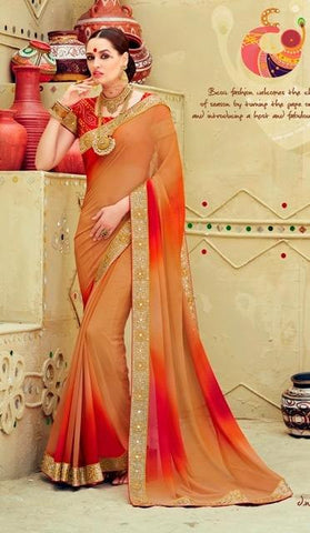 Beige , Red,Georgette,Party wear designer saree with designer blouse