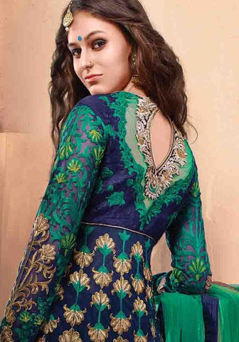 Designer bridal long green net full length anarkali frock suit