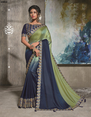Green-Blue Silk Party Wear  Saree With Blue Blouse