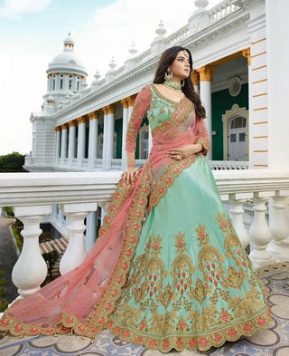 Blue Satin Silk Party Wear  Lehenga With Pink Dupatta