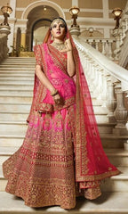 Pink Satin Silk Party Wear  Lehenga With Pink Dupatta