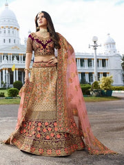 Purple Fancy Fabric + Velvet Party Wear  Lehenga With Pink Dupatta