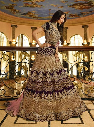 Purple Banarsi Silk Party Wear  Lehenga With Pink Dupatta