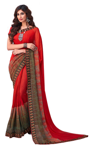 Red Georgette Party Wear Saree With Red Blouse