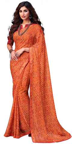 Orange Georgette Party Wear Saree With Red Blouse