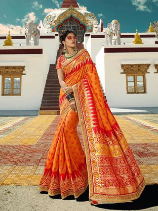 Orange Silk Party Wear  Saree With Orange Blouse