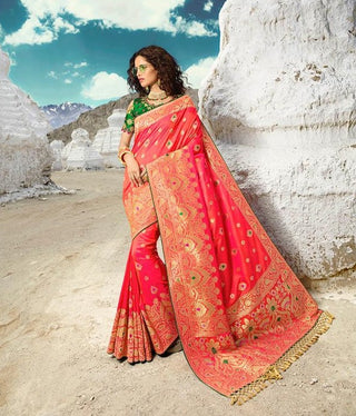 Pink Silk Party Wear  Saree With Green Blouse