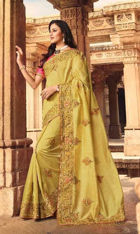 Golden Silk Party Wear Saree With Pink Blouse