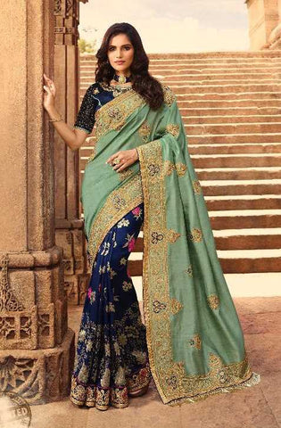 Blue Silk Party Wear Saree With Blue Blouse