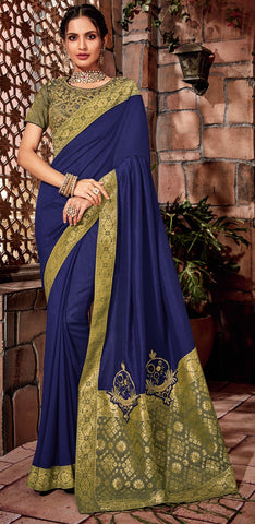 Blue Silk Party Wear  Saree With Gloden Blouse