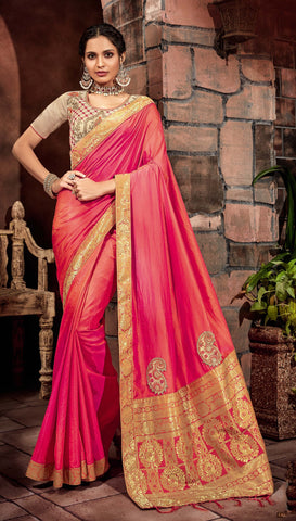Orangepink Silk Party Wear  Saree With Silver Blouse