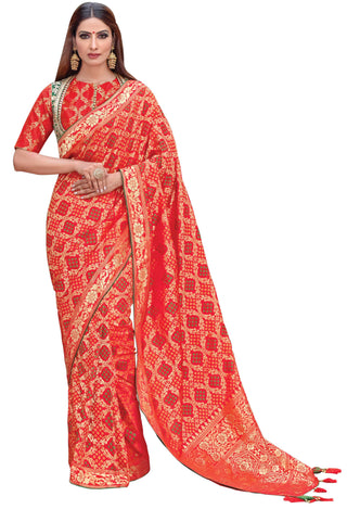 Red Weaved Silk Party Wear Saree With Red Blouse