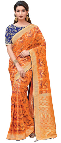 Orange Weaved Silk Party Wear Saree With Blue Blouse