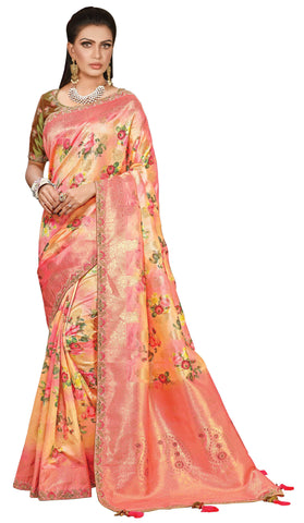 Orange Printed Weaved Silk Party Wear Saree With Green Blouse
