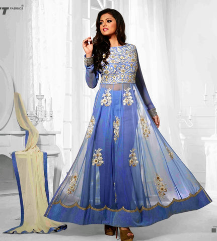 Designer suits,fabric : georgette,bottom : santoon,color : blue,cream