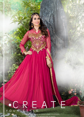 Designer pink anarkali floor length long anarkali frock suits with heavy embroidered work