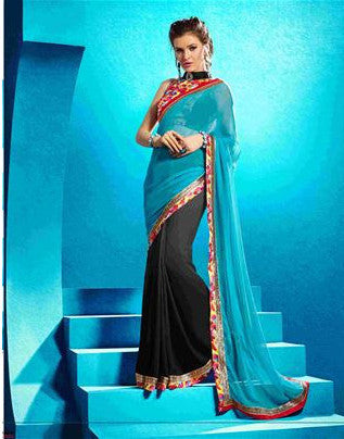 Designer georgette blue and black saree for office