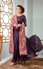 Purple Georgette Party Wear Anarkali Suit With Pink Dupatta