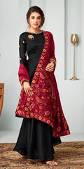 Black Georgette Party Wear Anarkali With Red Dupatta
