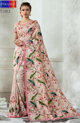 Pink Printed Silk Saree With Pink Blouse