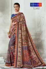 Printed Designer Tussar Silk With Blouse