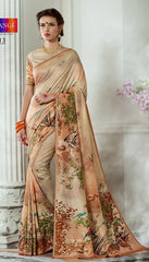 Beige Tussar Silk Saree With Beige Blouse