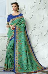 Green Tussar Silk Saree With Blue Blouse