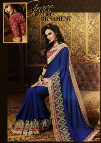 Saree :Jeq Bamber Sari With Art Silk Net Blouse,Saree : Blue,Blouse : Pink