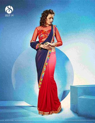 Designer Red and Blue Saree in shades for women