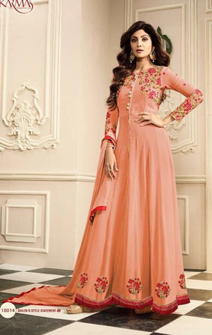 Peach Gerogette Abaya Sytle High Waist Front Slit Anarkali Suit With Dupatta