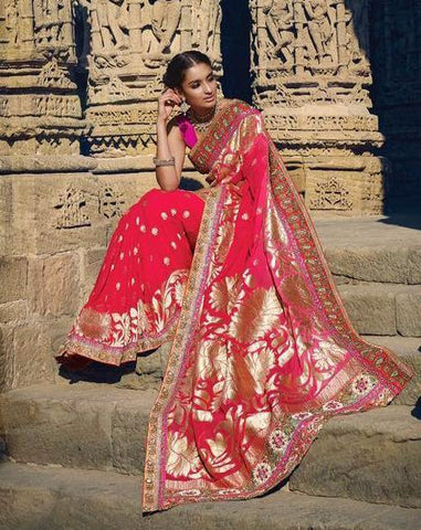 Red,Silk,Heavy designer party wear saree