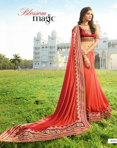 Red,Chiffon,Heavy party wear bridal designer saree