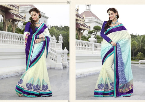 Off White Brasso Saree with embroidery and handwork