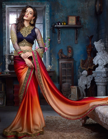 Designer Multicolored Pure satin Embroidered Saree