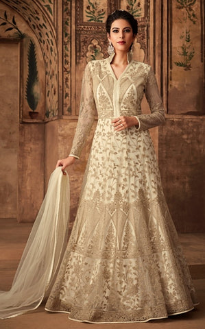 White Net Party Wear Anarkali With White Dupatta