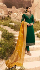 Green Satin Georgette Party Wear Salwar Suit With  Dupatta