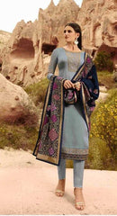 Grey Satin Georgette Party Wear Salwar Suit With  Dupatta