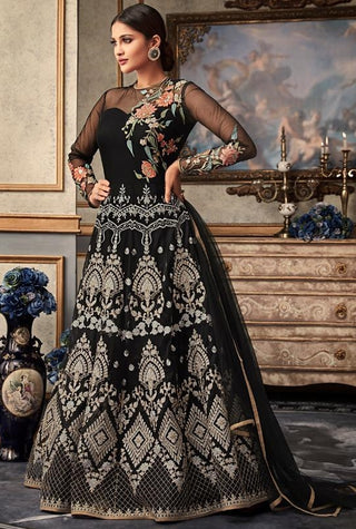 Black Net Party Wear Anarkali Suit With Black Dupatta
