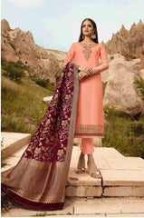 Peach Satin Georgette Party Wear Salwar Suit With  Dupatta