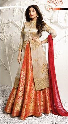 Golden Beige Red Brocade Jacket Type Anarkali Suit With Dupatta