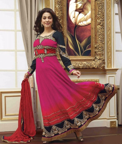 Pink long floor length designer anarkali suits with black embroidered sleeves