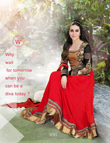 Red and black embroidered anarkali floor length long semi stitched suits with chiffon dupatta