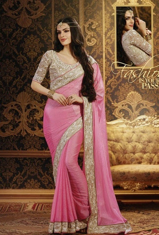 Saree :Chiffon Sari With Lace Blouse,Saree : Pink,Blouse : Beige