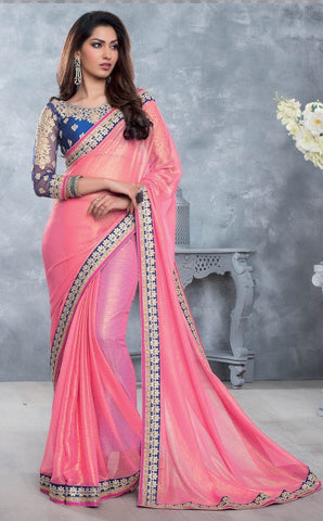 Saree Pink  ,Georgette